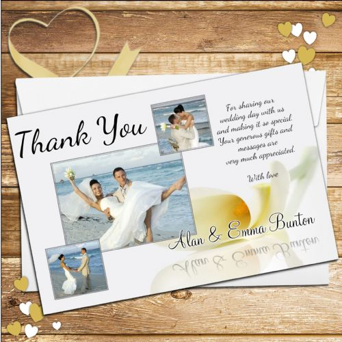 10 Personalised Wedding Day Thank you Photo cards N79